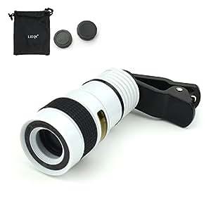 望遠レンズ スマホ 8X ズーム レンズ iPhone Android 各種スマートフォン対応レンズ Telescope Lens LIEQI正規品 LQ-007 8倍 最遠撮影距離100m (ホワイト)