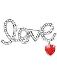 Fablcrew ブローチ love 胸飾り レディース ピン ジュエリー エレガント 美しい アクセサリー コサージュ 入園式 入学式 卒園式 卒業式 結婚 フォーマ 記念式典