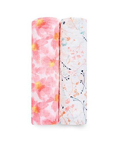 aden + anais (エイデンアンドアネイ) 【日本正規品】 モスリンコットン おくるみ 2枚セット (ペタルブルーム) 2pack swaddles (petal blooms) 4040