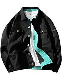 gawaga メンズ作業ポケット固体トラッカーラペルシングルブレストカジュアルジャケット