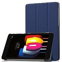【LIHOULAI】au Qua tab QZ8 KYT32専用保護ケース 超軽量 マグネット内蔵 保護カバー 三つ折りスタンド可能 (ネイビー)