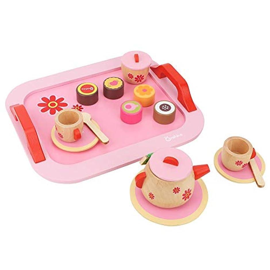 差差レスリング幼児プレイキッチンアクセサリーセット、カラフルな木製模擬キッチンティーセットデザート子供ふりプレイおもちゃ