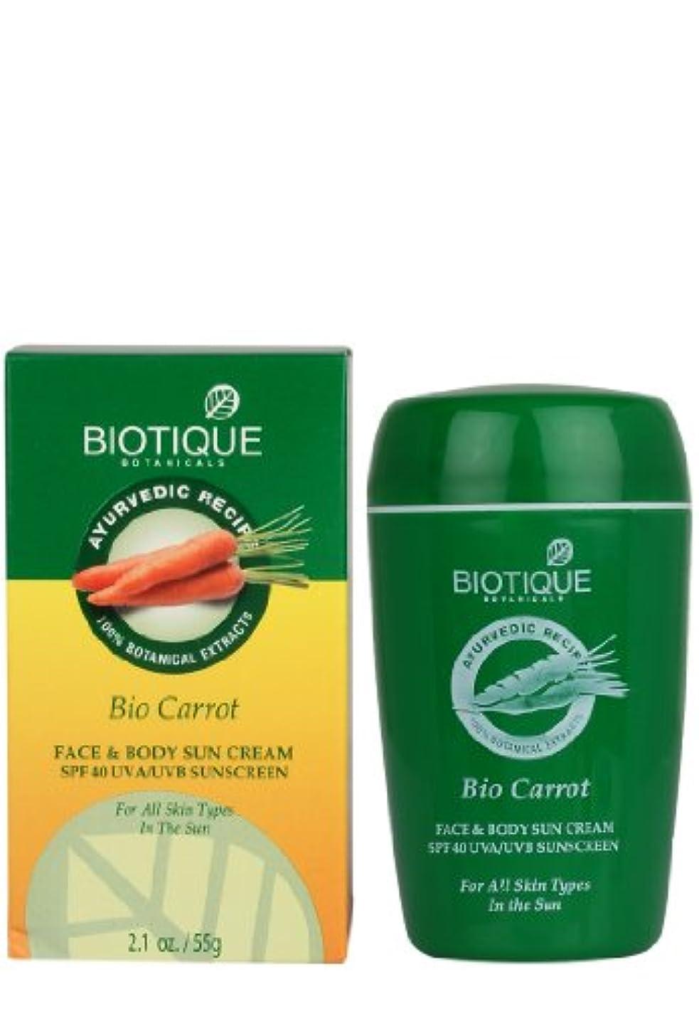 代表スマイルチョークBiotique Carrot Face and Body Sun Cream SPF 40 UVA/UVB Sunscreen