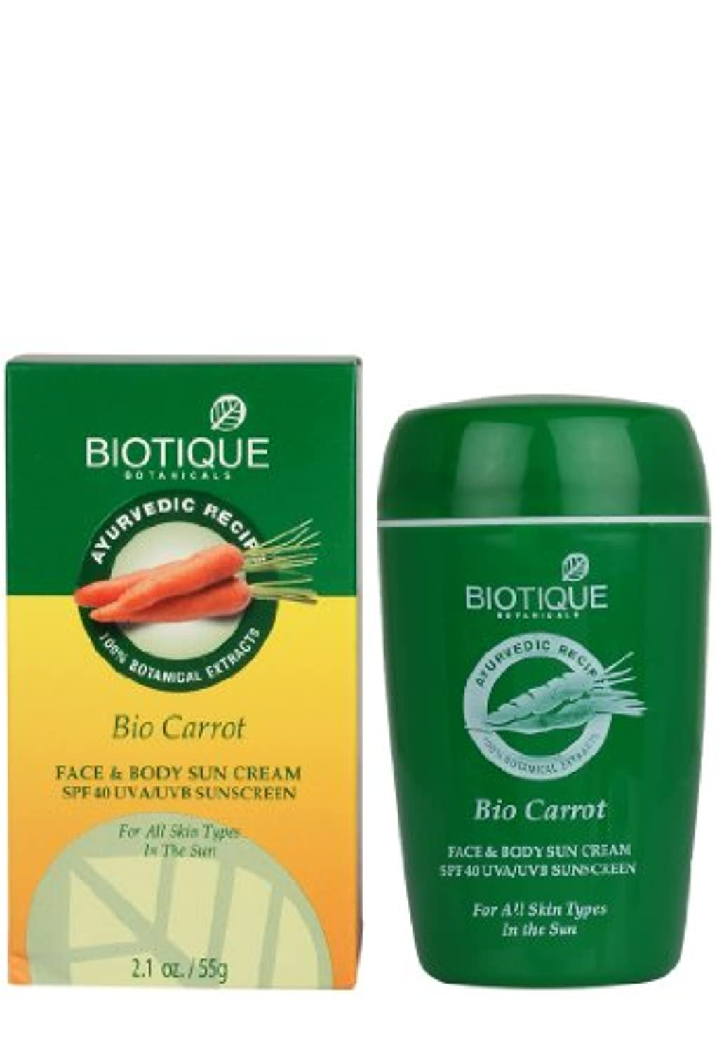 手ペルソナバケツBiotique Carrot Face and Body Sun Cream SPF 40 UVA/UVB Sunscreen