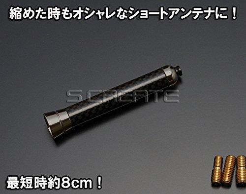 S CREATE(エスクリエイト) カーボン伸縮アンテナ(ブラックメッキ)プジョー1007・206SW