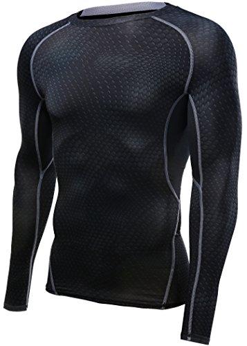 HONENNA 長袖 加圧インナー スポーツシャツ サッカー 男性用機能性肌着 姿勢矯正 吸汗速乾 コンプレッションウェア アンダーウェア メンズ 3カラー (M, ブラック)