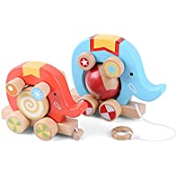 ベリーPresident ?TM ?Set of 2 : Wooden Push / Pull Along Circus Elephantおもちゃ幼児用子供用