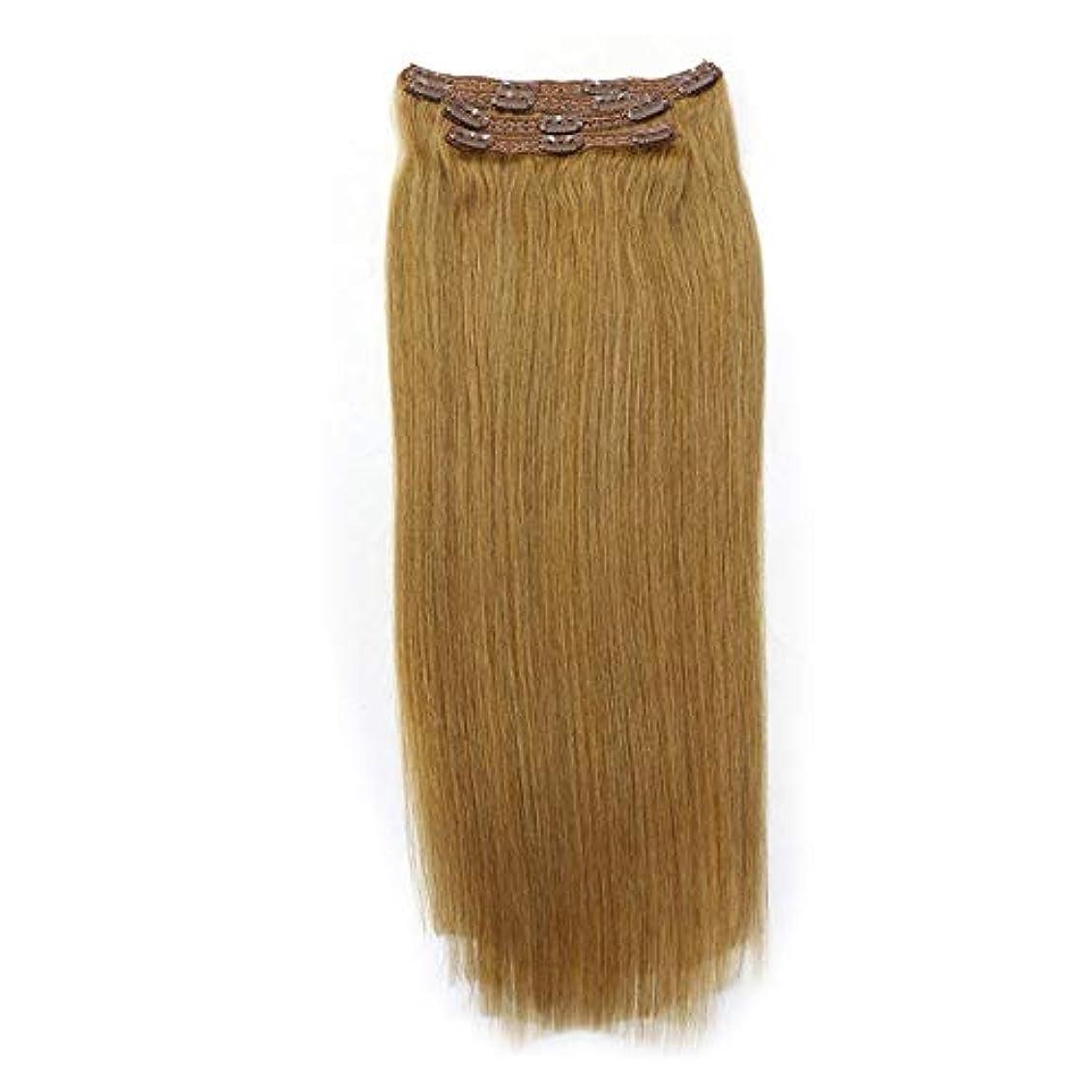 寝てる退却責めWASAIO ノーマルRealフル?ヘッドのヘアエクステンションクリップ裏地なし髪型ダブル横糸レミー人間のクリップ8個なめらかな (色 : ブラウン, サイズ : 28 inch)