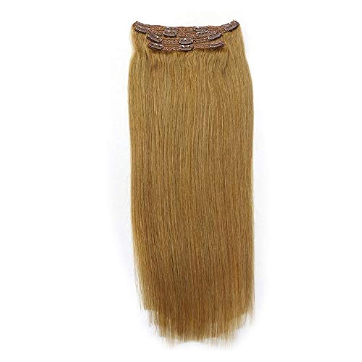 テメリティアスリート中古WASAIO ノーマルRealフル?ヘッドのヘアエクステンションクリップ裏地なし髪型ダブル横糸レミー人間のクリップ8個なめらかな (色 : ブラウン, サイズ : 28 inch)