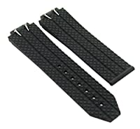 24mm Rubber Band Strap Clasp forウブロHビッグバン44–44.5MM + 4ねじブラック# 6h