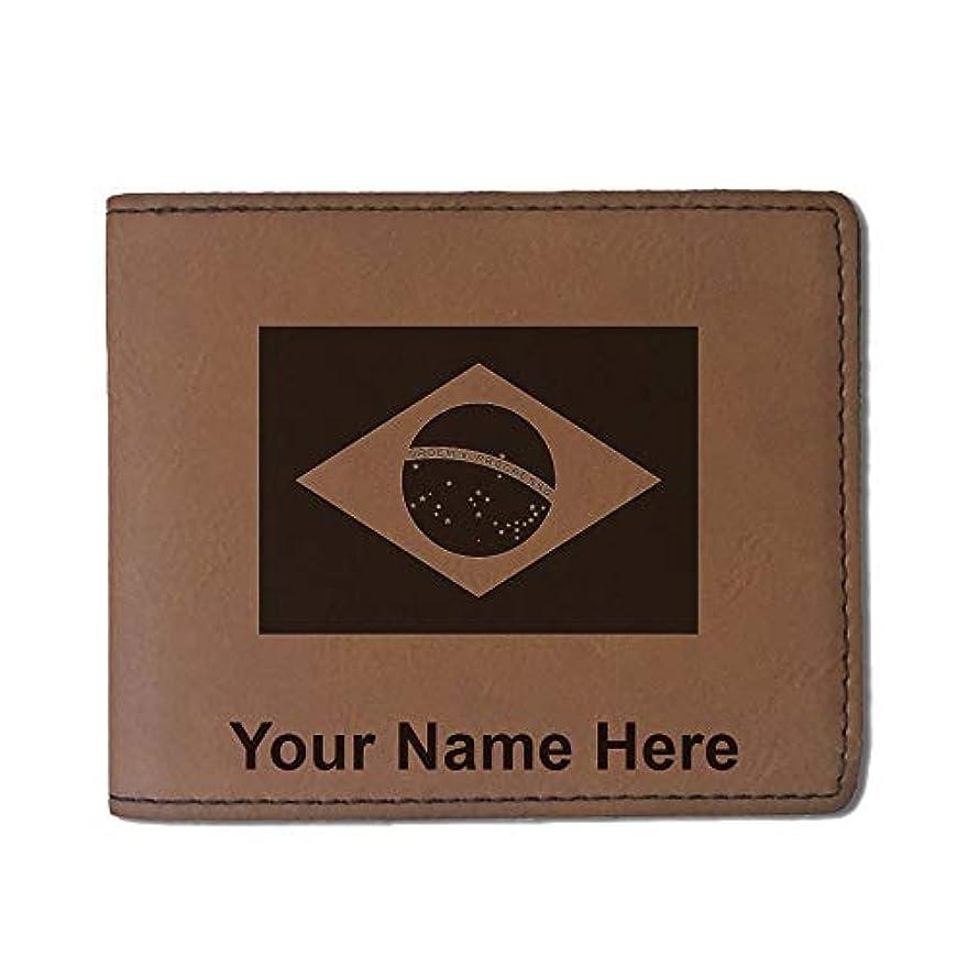 突っ込む意志コンドームフェイクレザー財布 – ブラジルの国旗 – カスタマイズ彫刻Included (ダークブラウン)