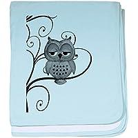 CafePress – ブラックホワイトSwirlyツリーフクロウ – スーパーソフトベビー毛布、新生児おくるみ ブルー 070020606225CD2