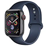 AMATOP10 Sport Band Compatible with Apple Watch 38MM 40MM 42MM 44MM, Soft Silicone Sport Loop Replacement Wrist Strap for iWatch Series 5/4/3/2/1 (Midnight Blue, 42/44MM M/L)
