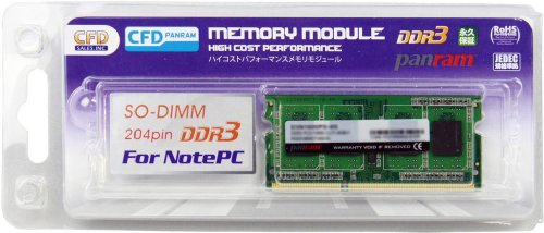 CFD販売 ノートPC用メモリ PC-12800(DDR3-1600) 4GB×1枚 204pin SO-DIMM (無期限保証)(Panramシリーズ)D3N1600PS-4G
