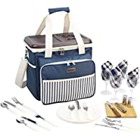 Picnic Cooler Bag Service Set for 4 Persons, Insulated Lunch Tote with Flatware, Plates for Outdoor Picnic - Hard EVA Formed Lid as Portable Table - Best Father Mother