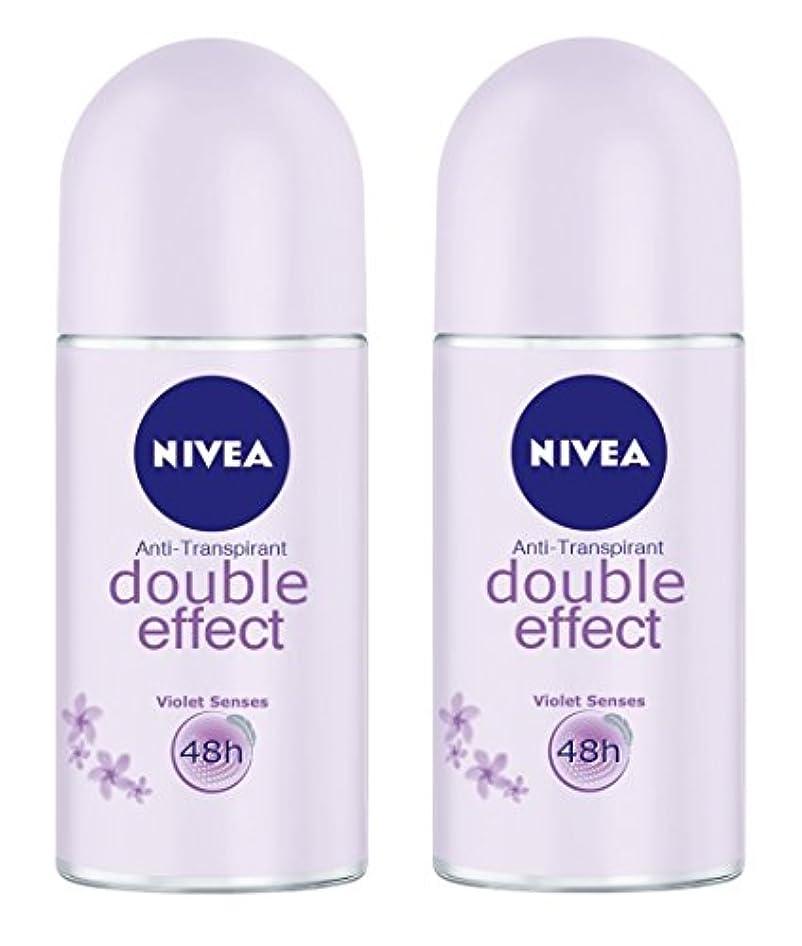 明日ぼんやりした大いに(Pack of 2) Nivea Double Effect (Violet Senses) Anti-perspirant Deodorant Roll On for Women 2x50ml - (2パック) ニベアダブル効果(バイオレット感覚) 制汗剤デオドラントロールオン女性のための2x50ml
