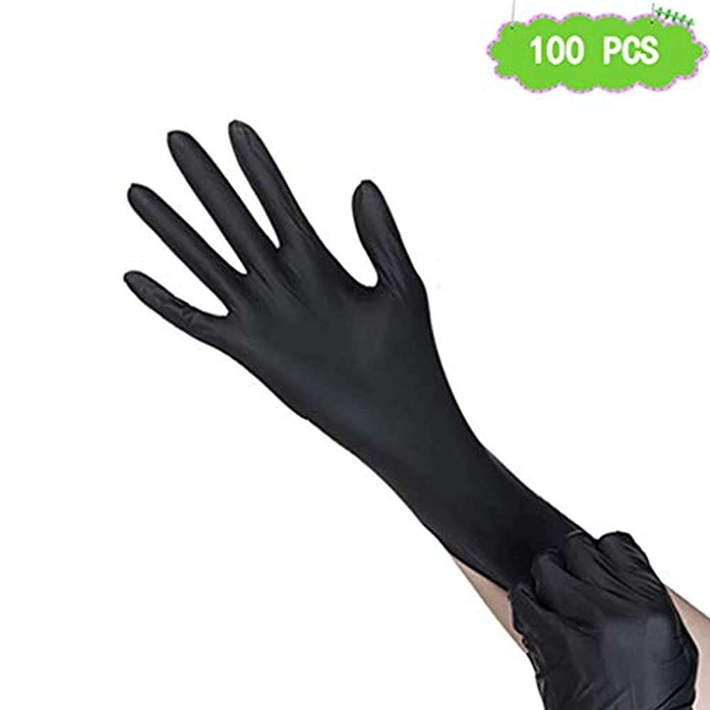 朝の体操をする成果ながらニトリル手袋、黒刺繍タトゥー理髪滑り止め使い捨て手袋ペットケアネイルアート検査保護実験、美容院ラテックスフリー、、 100個 (Size : L)