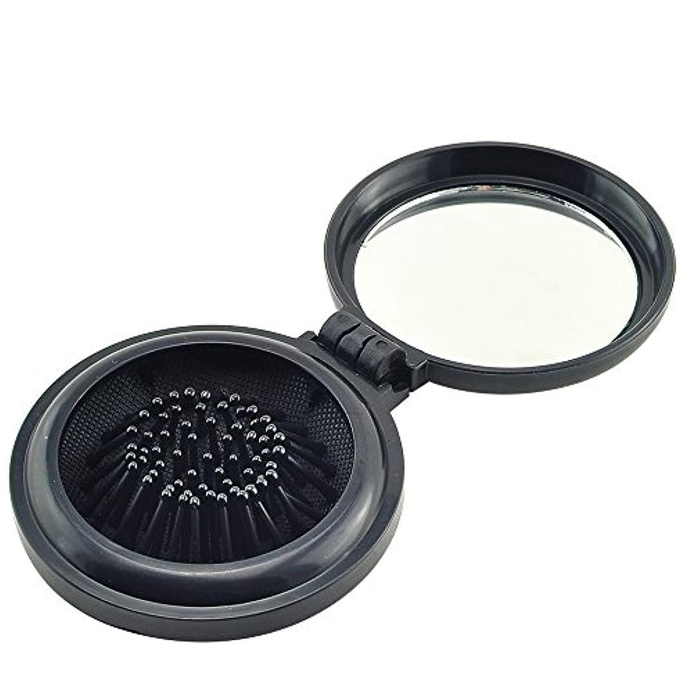 満足できるオーバーフロー研究所ixaer 折りたたみ ヘアブラシ 鏡付き 円形 櫛 コンパクト 携帯便利 通勤 通学 旅行に最適 ブラック