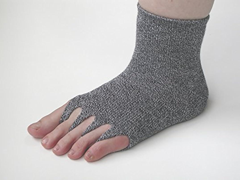 エーカー結紮表面的なユニロック 指ぬき健康ソックス ゴムなし M (グレー)