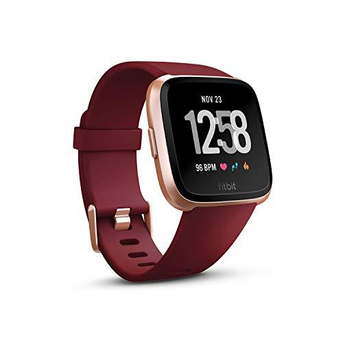 Fitbit フィットビット スマートウォッチ Versa 女性の体調管理 心拍 睡眠 パーソナルコーチ 耐水仕様 Ruby Band/Rose Gold Aluminum L/Sサイズ【日本正規品】 FB505RGRD-EU