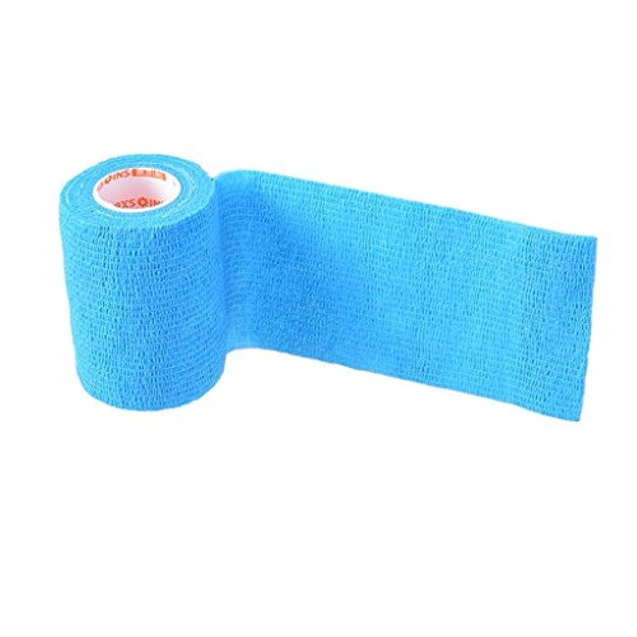 ヒステリック慰めバケツFenteer 弾性包帯 自己接着 包帯テープ ガーゼラップロール 全5色 - 青