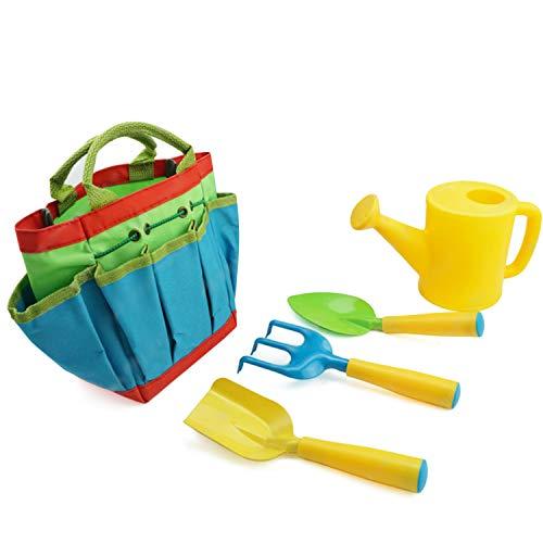 ゴシレ Gosear 5ピース子供子供園芸ツールセットを含むじょうろシャベルすくいこてガーデントートバッグ用屋外ビーチガーデン用品
