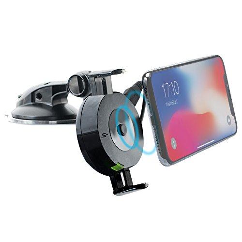 サンワダイレクト Qi充電 車載ホルダー 下向き設置対応 角度調整 iPhone スマホ ダッシュボード取付 ゲル吸盤 【Qi規格準拠品】700-WLC001
