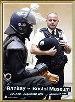 ポスター バンクシー banksy bristol museum poster 額装品 アルミ製ハイグレードフレーム(ゴールド)