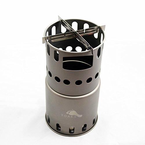 TOAKSチタン製ストーブ・二次燃焼 燃料不要 五徳コンロ,焚火台 薪 コンパクト 携帯用小型 アウトドア キャンプ ウッドバーニングストーブ (ビッグ)