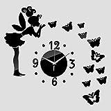 MzNm子供部屋ミラーアクリル壁時計3dホームデコレーションDIYクリスタルガールバタフライLovely Craftクオーツ時計 ブラック SGMEI-54185183 - Best Reviews Guide
