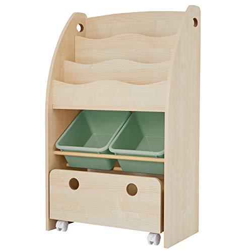 LOWYA (ロウヤ) おもちゃ収納 絵本棚 絵本ラック 本箱 おもちゃ箱 子供用 木製 スリムタイプ ナチュラル×...