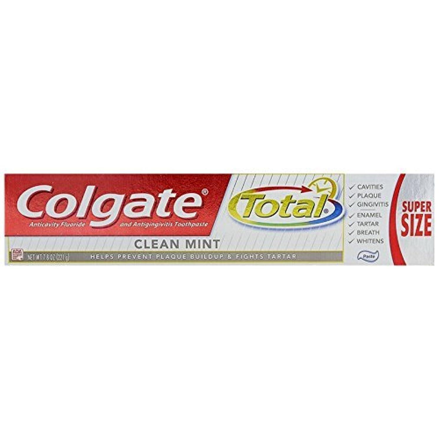パン瞳生息地Colgate 総フッ化物の歯磨き粉クリーンミント、7.80オンス(12パック)