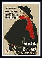 ポスター アンリ ド トゥールーズ ロートレック Bruant dans son Cabaret、 1893 額装品 ウッドハイグレードフレーム(ネイビー)