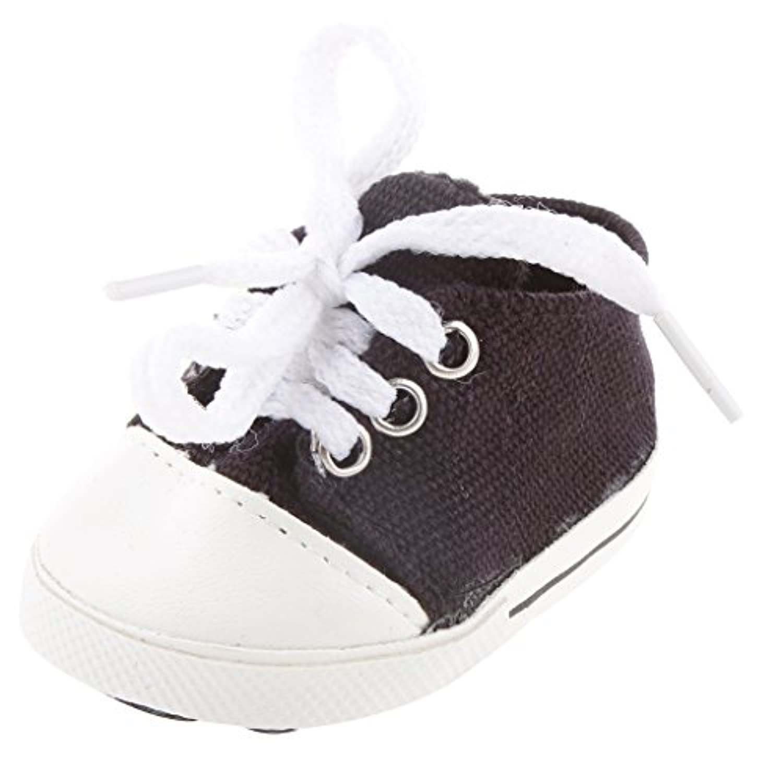 Lovoski 可愛い ブラック   キャンバス  靴  18インチ アメリカンガールドール用 装飾