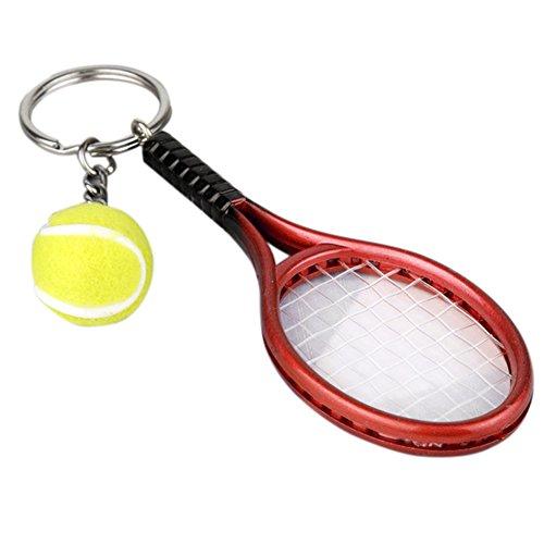 ミニ テニス ボールラケット ペンダント キーリング キーチ...