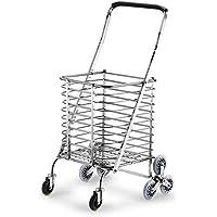Super Kh® トロリーステンレス鋼折りたたみ食料品買い物カゴポータブルマウンテンバイク家庭用ベビーカー35x34x90cm *