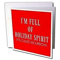 Xander面白い引用–Im Full of Holiday Spirit、そのBourbonと呼ばれる、ホワイトLetters on Red–グリーティングカード Individual Greeting Card