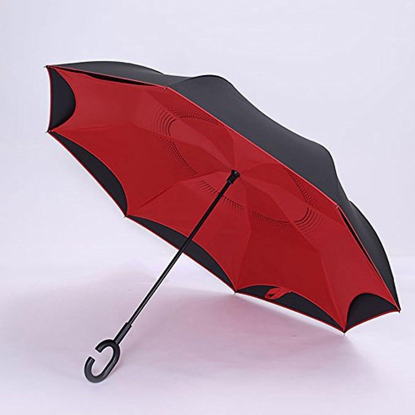 繊毛薄いです財団XRXY 長い処理逆畳み傘/特大のダブルレイヤー傘/屋外の二重使用の傘/ハンズフリースタンド可能なサン傘/日光の保護パラソル ( 色 : 赤 )