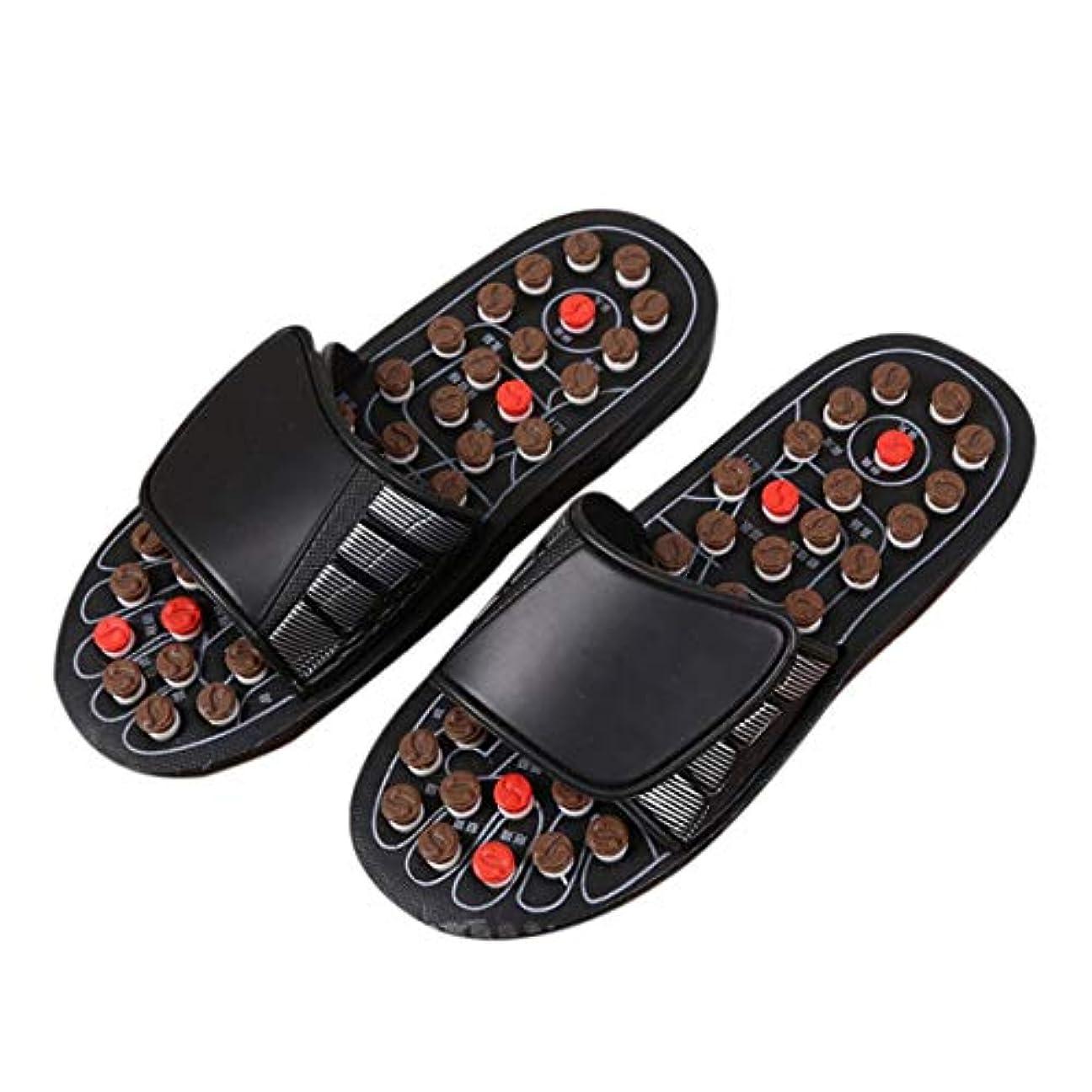 会うメタリックフロー1ピースブラックAcu-PointスリッパAccupressure Massage Foot Massager Flip Flop Sandals For Women Men Ka-Best-