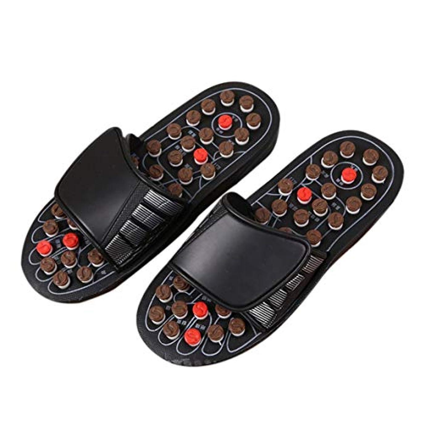 浸した論争の的ホット1ピースブラックAcu-PointスリッパAccupressure Massage Foot Massager Flip Flop Sandals For Women Men Ka-Best-