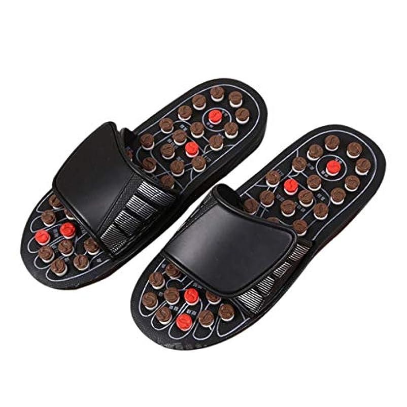 セーブ標準追い出す1ピースブラックAcu-PointスリッパAccupressure Massage Foot Massager Flip Flop Sandals For Women Men Ka-Best-