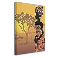 SkyDoor J アフリカ 女性 太陽 木 インテリア 壁絵 アートフレーム モダン 壁掛け ポスタ アート 背景絵画 壁アート 枠なし 現代壁の絵 木製 壁掛け絵画 装飾画 かべ飾り 30*40