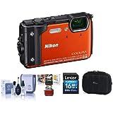 Nikon Coolpix W300 Point & Shoot カメラ オレンジ 16GB SDHCカード カメラケース クリーニングキット Macソフトウェアパッケージ