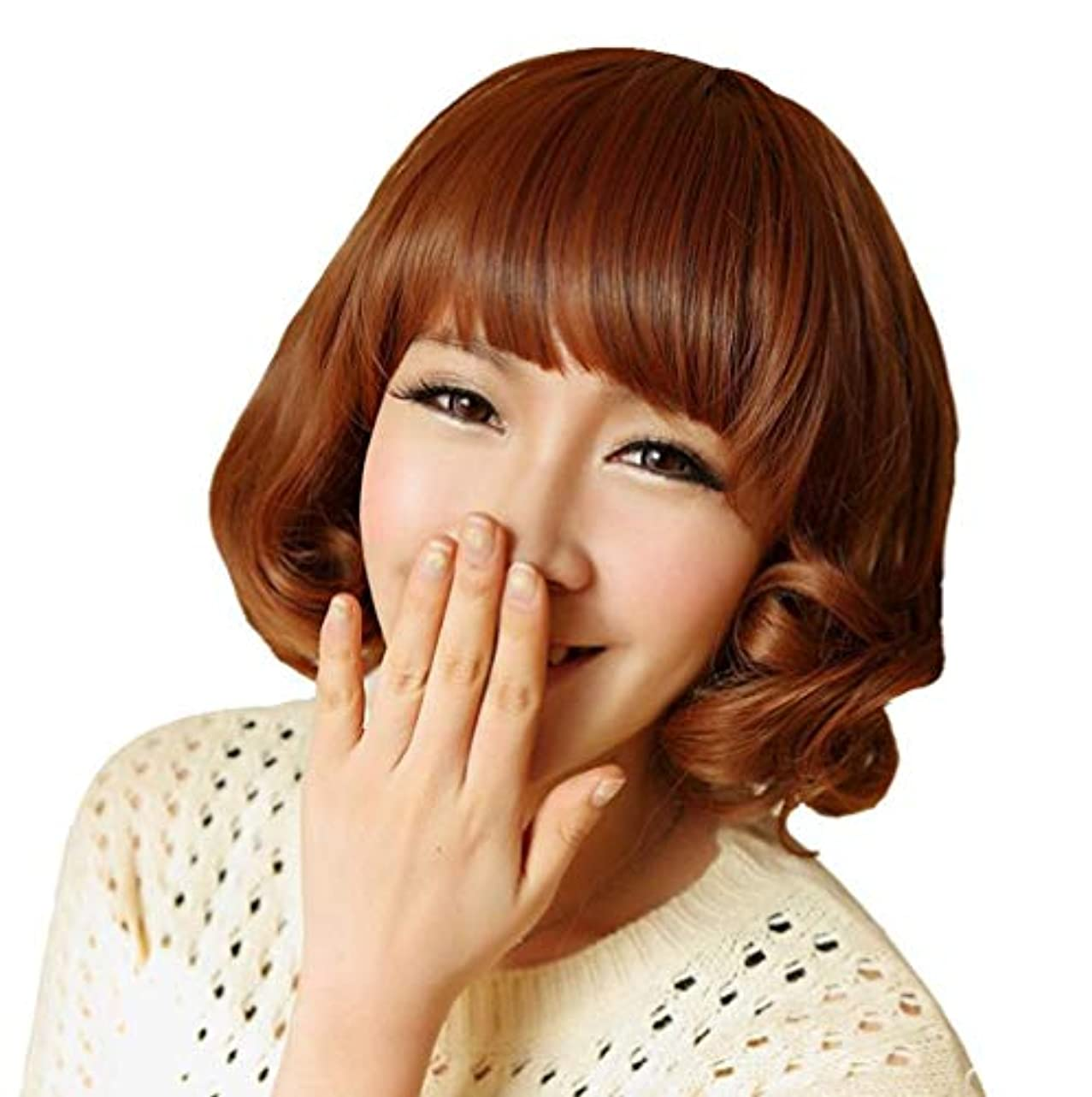 スポンジブリーフケース期待かつら女性ショートヘアボボヘッド空気前髪現実的な髪型 LH2206 (画像の色)