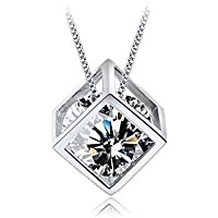 """Solid 925 Sterling Silver Rhodium Plated Cubic-Zirconia Amusing Magic Box Pendant Necklace for Women Girls Lovers Anniversary Birthday Dating Gift 16"""" Adjustable"""