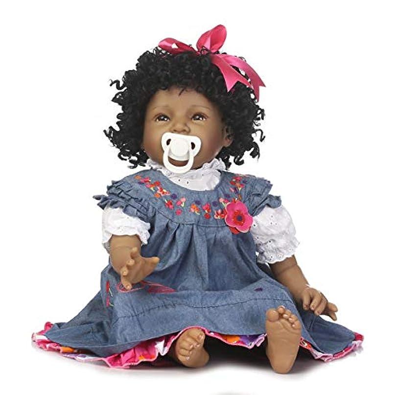 異常比喩祝福する55CMアフリカ系アメリカ人黒い肌シリコーン生まれ変わったベビードールおもちゃかわいいリアルなファッションスマイルベビードールギフト子供用-デニムブルー&ピンク&スキンカラー