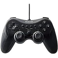 エレコム ゲームパッド 高耐久ボタン(日本メーカー製)採用 300万回耐久試験クリア 12ボタン 振動・連射機能搭載 ブラック JC-FU2912FBK