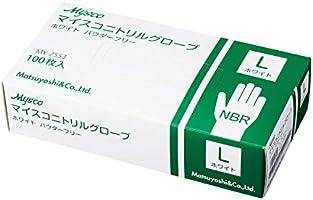 使い捨て手袋 ニトリルグローブ ホワイト 粉なし(サイズ:L)100枚入り 病院採用商品