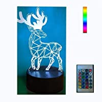 Night Lights for Kids 3d withリモートコントローラLEDタッチ7色変更Deerデスクランプ 3D Deer