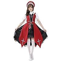 (FUPUONE) 十字巫女 レディースコスプレ 赤 黒の2カラー フリーサイズ 衣装 帽子 白ハイソックス の3点セット (レッド)